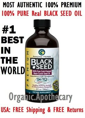 #1 RATED BEST GENUINE Herbals Black Seed Oil Organic 8 oz No Preservative (Best Black Seed Oils)