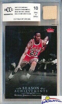 7d6d1ce99824 2007 Fleer  SH41 Michael Jordan+GAME USED BULLS FLOOR BECKETT 10 MINT GGUM