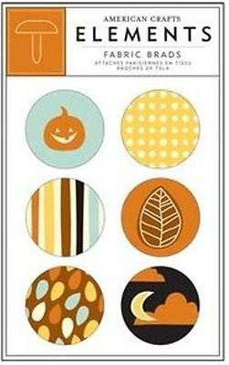 American Crafts Elements ~ LARGE FABRIC BRADS ~ NIGHTFALL ~ Autumn -6 count - American Crafts Elements Brads