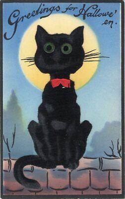 Halloween Pub (HALLOWEEN POSTCARD PUB. GABRIEL, SAM SERIES 1211, FELT CAT ADD-ON, CAT ON)