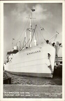 Svenska Orient Line Steamship M S Birkaland Real Photo Postcard