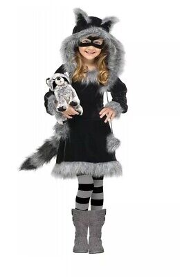 Raccoon Girl Costume (Sweet Raccoon Fluffy Animal Girl's Halloween Child Costume Toddler 3T-4T)