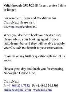 Cruise deposit tickets to NCL for best offer