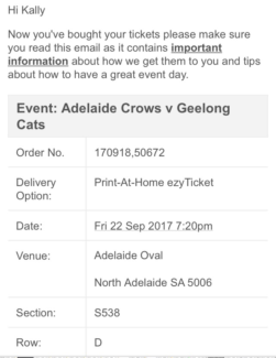 Preliminary final reserved Category 1  ticket Crows vs Cats