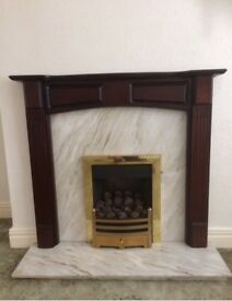 Fire surround with hearth, back panel & fire, £60 only.