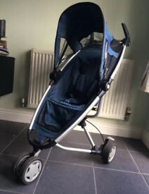 Quinny Zapp Blue pushchair with matching footmuff carry-bag and raincover