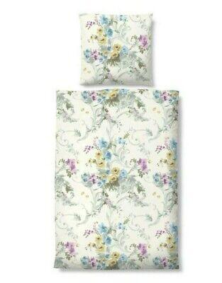 Biberna Baumwolle Soft Seersucker Bettwäsche 4tlg Blumen Ornamente 155x200 cm