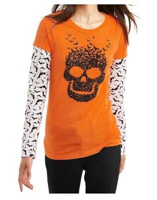HALLOWEEN Graphic Tee XXL Juniors Skeleton Skull Shirt Bats Orange NWOT](Halloween Graphics Bats)