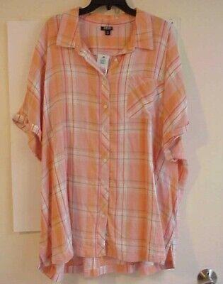 Womens  A.N.A  button down short sleeve Peach Plaid Top Shirt  NWT Plus Size