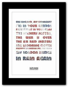 KATE-BUSH-Oh-England-song-lyrics-typography-poster-art-print-A1-A2-A3-or-A4