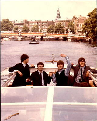 """BEATLES: ALL 4 IN BOAT ON THAMES RIVER -- 11"""" x 14"""" PROOF PHOTO!"""