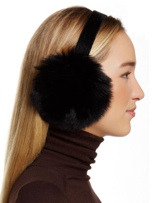 NWT New Mitchies Velvet Frame Luxe Luxurious Genuine Fox Fur Earmuff OS Black