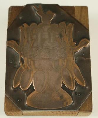 Vintage Newspaper Art Stamp Printer Type Wood Block Sterling Teaspoon Holder