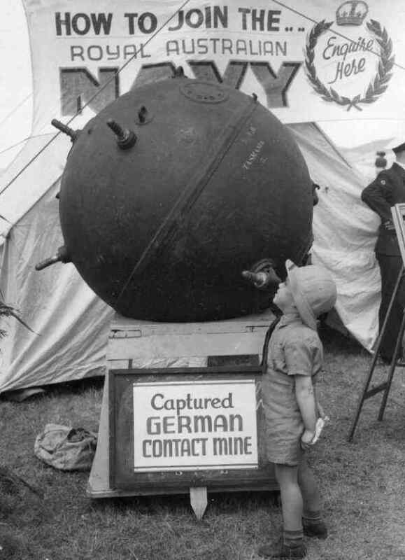 WW2  Photo Australian Boy and German Naval Mine WWII World War Two