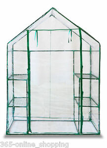NEW WALK IN GREENHOUSE WITH DOUBLE SHELVES PVC PLASTIC COVER OUTDOOR GARDEN