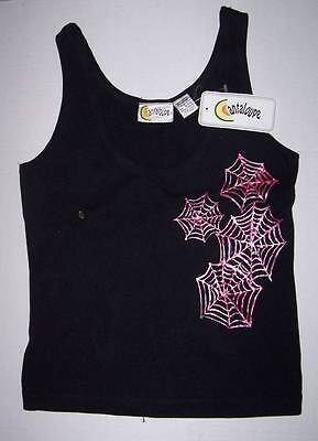 Canteloupe black tank top with pink spider web design L Halloween