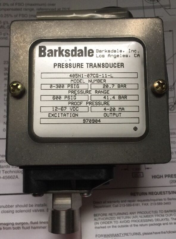 Barksdale Pressure Transducer Model # 405N1-07CG-11-L