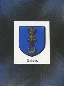 ANTIQUE-CALAIS-FRANCE-HERALDRY-CREST-PRINT-ON-ACEO-NEW-BLACK-PAPER-COAT-OF-ARMS