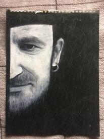 Original pastel sketch of Bono (U2) on paper. Hand drawing in black & white pastels by J.McKenna