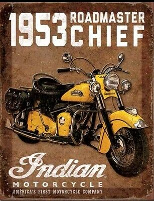 Indian Motorcycle 1953 Roadmaster Chief Metal Tin Sign Retro Vintage Look #1932