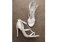 NEW Next white satin wedding party high heels 6.5