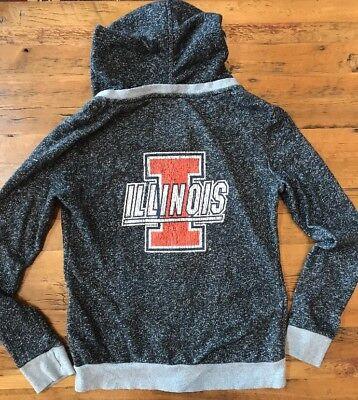 Illinois Fighting Illini Womens XL Hoodie Jacket Full Zip Sweatshirt Dark Gray - Illinois Womens Hoody Zip Sweatshirt