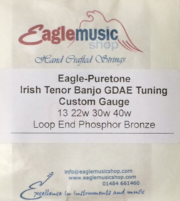Irish Tenor Banjo GDAE Custom String Set 13, 22w, 30w, 40w Eagle-Puretone LE PB