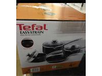Brand New- Tefal Easy Strain pan set - 4 piece