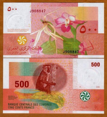 Comoros, Comores 500 Francs, 2006, P-15, UNC > Lemur, Orchids