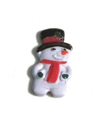 VINTAGE Hand Painted Aluminum Snowman in Tophat Button JHB