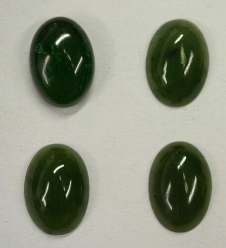 2pcs 13x18mm Natural British Columbia BC Nephrite Jade Cabochon Gemstones Cab
