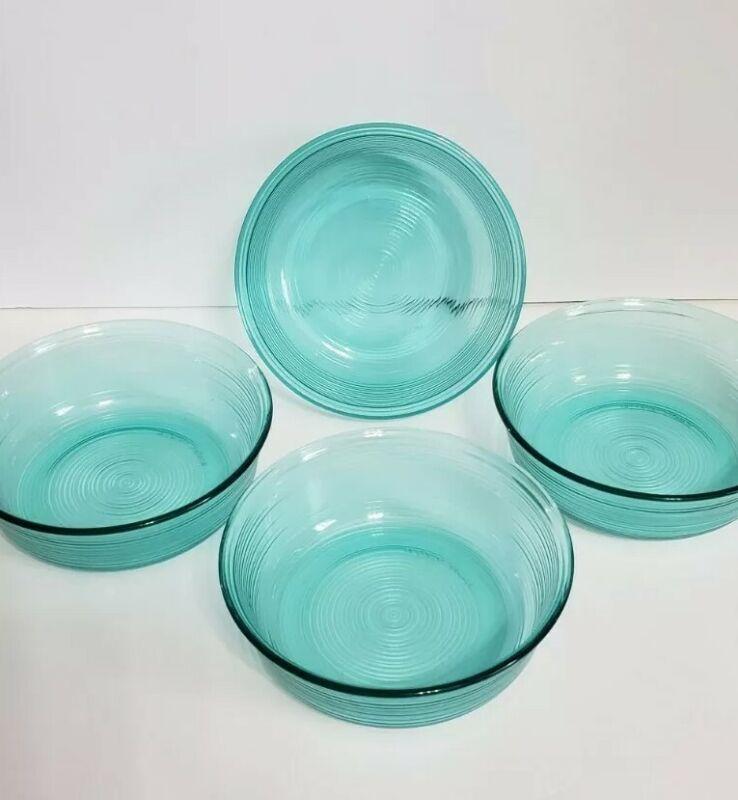 Arcoroc France - Set  Of 4 - Teal Blue Aqua Soup / Salad Cereal Bowls Jardiniere