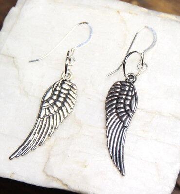 Feather Earrings .925 sterling silver Hooks Angel Angels Wing Wings Pewter -