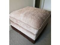 Footstool Lounge Ottoman Pouffe - Like New - Oatmeal and Brown Chenille Fabric
