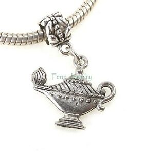 Aladdin Genie's Magic Lamp Dangle Charm Bead Slider USA Pewter fit Euro Bracelet