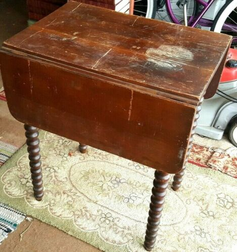 Drop Leaf Side End Table Waterfall Drawer, Early 19th Furniture American c1840