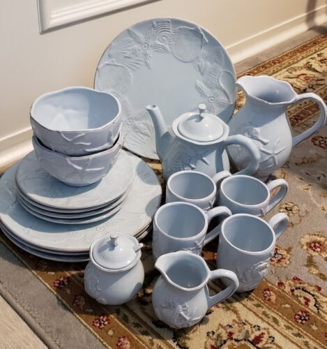 Blue Sky Ceramics Seahorse Starfish Seashell Dinnerware Tea