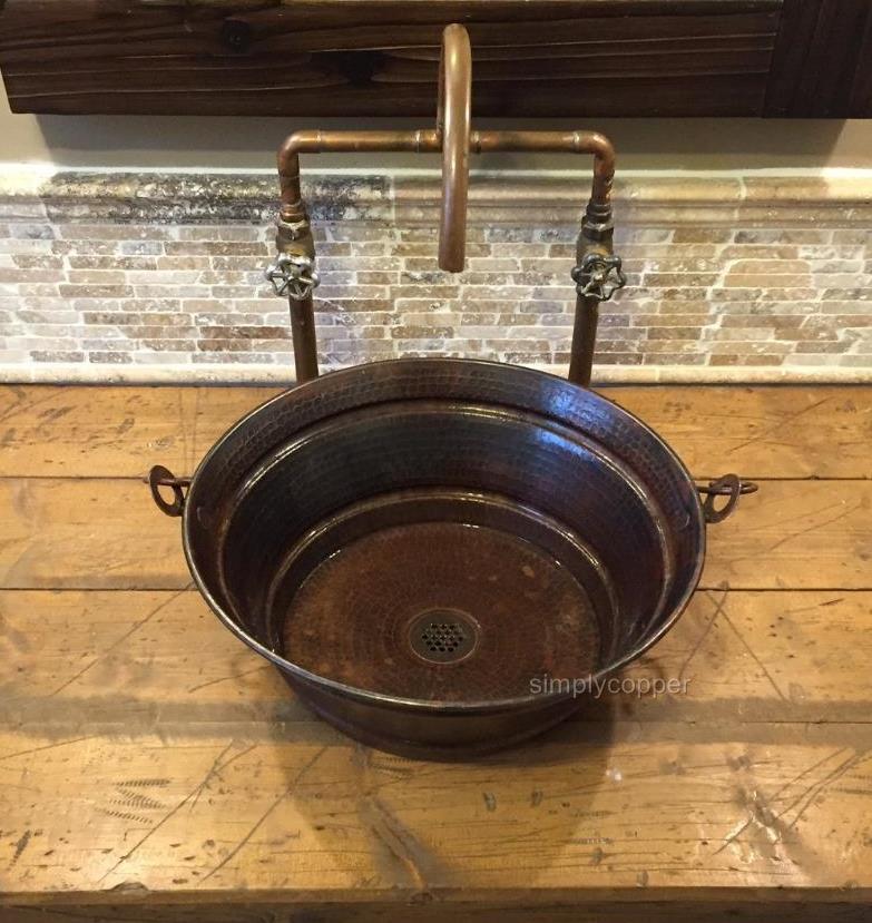 "15"" Round Bucket Vessel Cazo Bathroom Sink with Grid Drain"