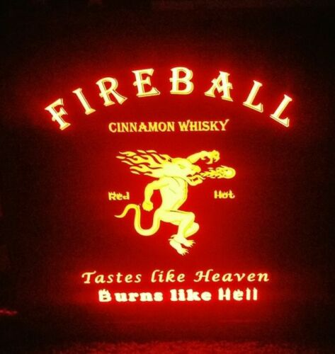 Fireball Whisky LED Sign Personalized, Home bar pub Sign, Lighted Sign, man cave