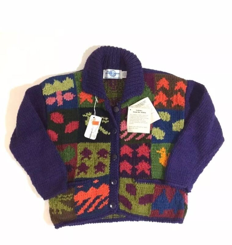 The Sweater Venture Girls Knit Cardigan Size Large Patchwork Multicolor Fall NWT