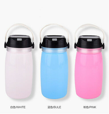 Outdoor Water Silica Bottle 1000ml Camping Hiking Solar-powered Lighting -