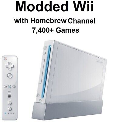 Nintendo Wii modded with Homebrew Channel and 7,400+ retro games