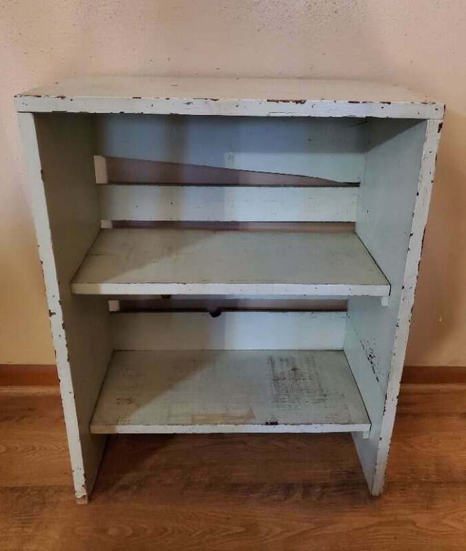 Vintage Farmhouse Book Shelf 3 Tier Chippy Green Paint Solid Wood