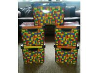 Lego storage boxes and posters