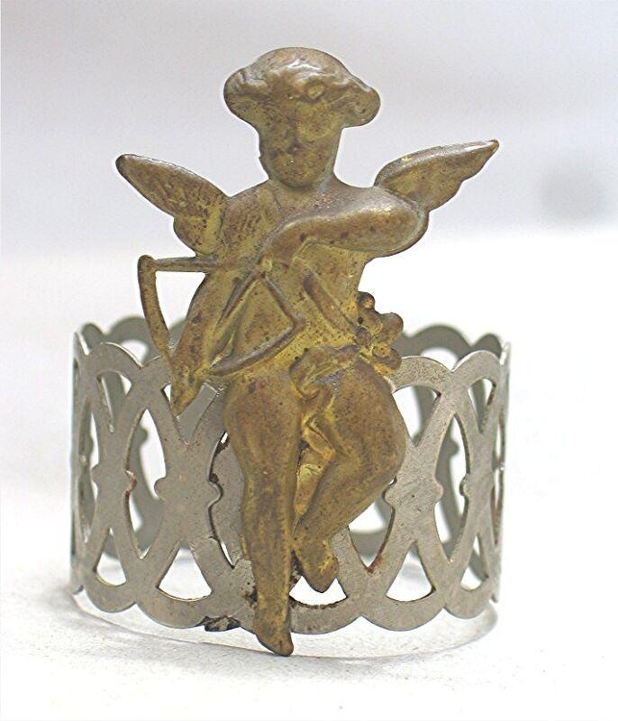 Vintage Metal Napkin Ring with Cupid