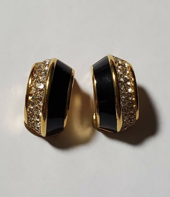 Vintage Signed Christian Dior Black Enamel & Rhinestone  Gold Tone Earrings