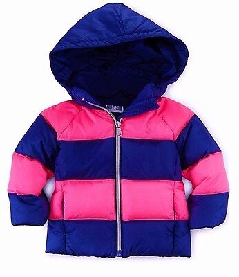 $119 NWT Ralph Lauren Baby Girls' Rugby Quilted Down Jacket Coat  3 Months