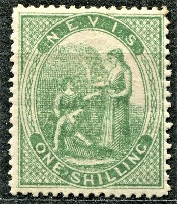 Nevis 1871 issue, SG 20, 1s Pale Green, Hinged, CV £90