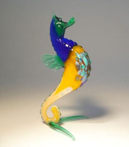 """Blown Glass """"Murano"""" Handmade Art Figurine Blue and Orange SEAHORSE"""