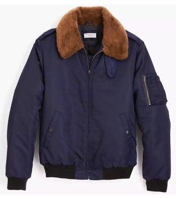 NEW J CREW Wallace & Barnes Nylon-twill Bomber Jacket Thinsulate S Blue G9140